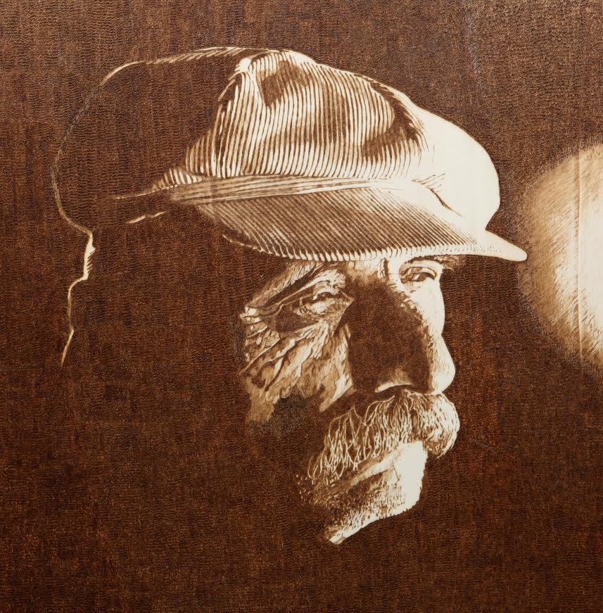 ŽELJKO STRELEC - I, 2014., šperploča-pirografija, 50x50cm