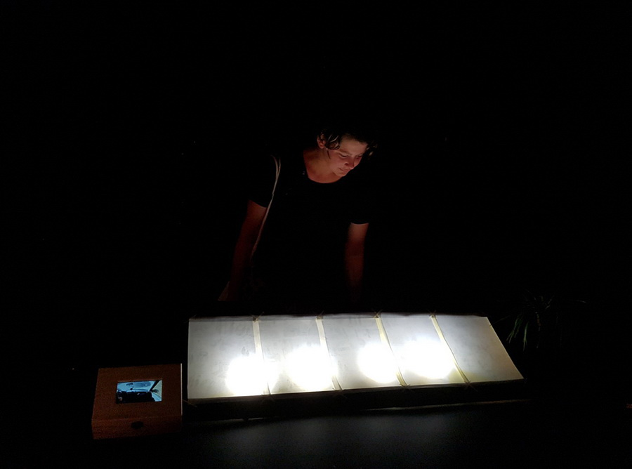ANA SLADETIĆ ŠABIĆ - Preserving, 2016., instalacija: video zapis+crtež na pausu, lightbox: 50x70x10cm