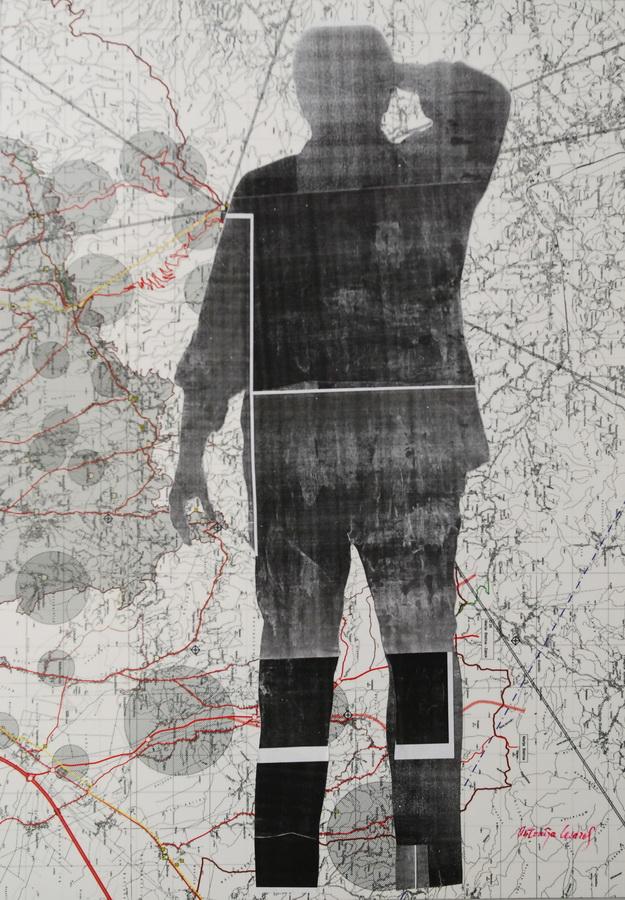 ANTONIJA CESAREC - Dilema, 2017., kolaž: ljepenka/papir, 100x70cm