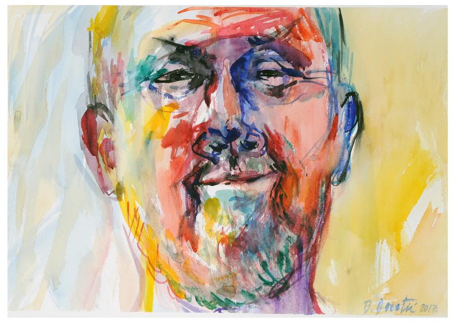 BRANIMIR DOROTIĆ - Autoportret, 2017., slika: akvarel/papir, 50x35cm