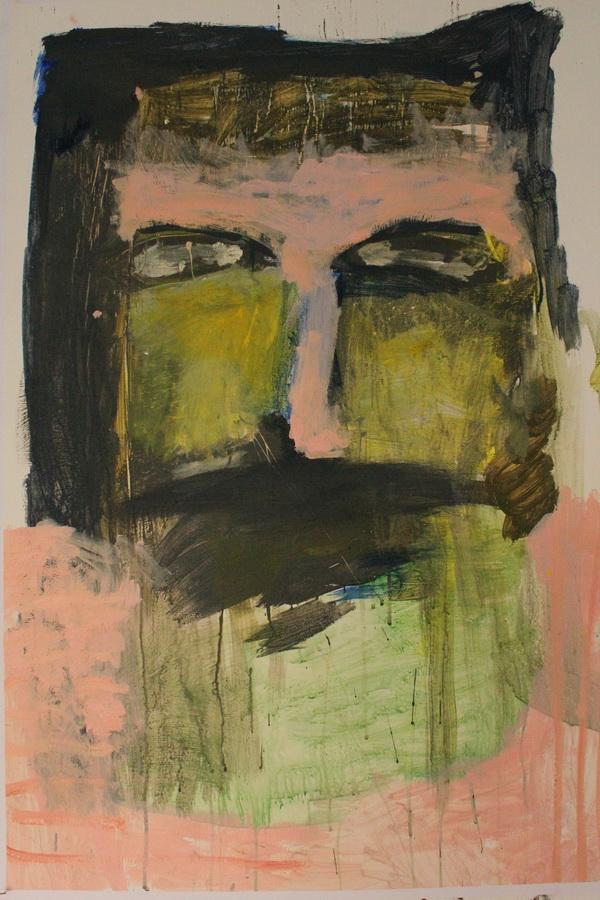 DAVOR DMITROVIĆ - Autoportret, 2016., slika: akril/papir, 100x70cm