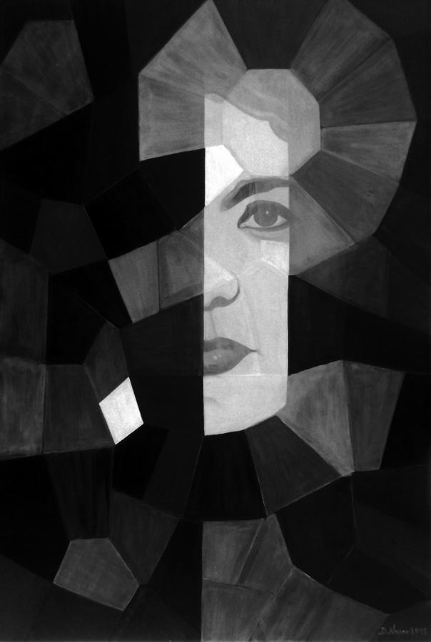 DIJANA NAZOR - Skriveni autoportret u zrcalu, 2015., dvostruka slika: akril/platno, 120x80cm