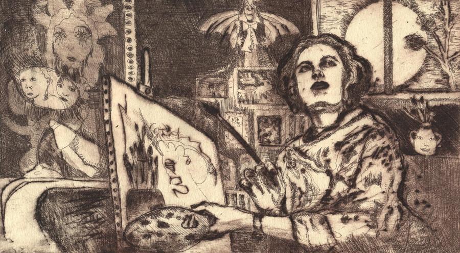 KARINA SLADOVIĆ - Autoportret – Čekajući inspiraciju, 2017., grafika: duboki tisak (bakropis/suha igla), 14x24cm