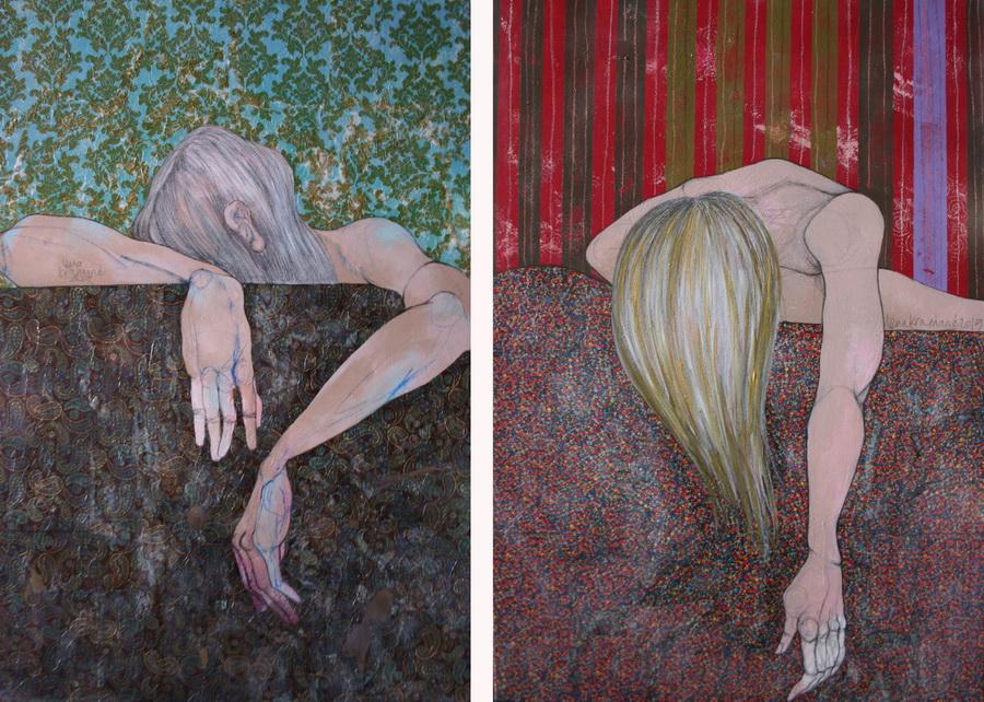 LENA KRAMARIĆ - This is you 1&2 (Hidden), 2015., diptih, kombinirana tehnika, 100x70cm
