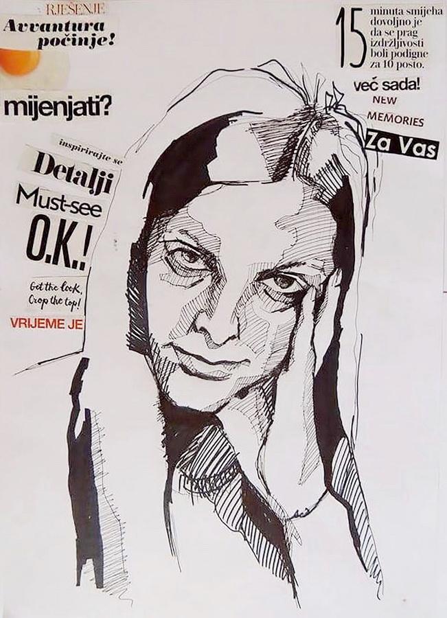 LUCIA PAVLIŠINOVÁ - Autoportret – Dosada, 2017., kolaž, 21x29,7cm