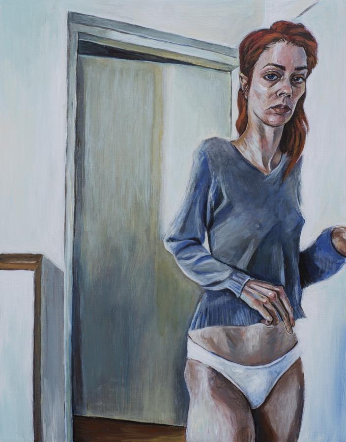 MARINA ĆORIĆ - Autoportret, 2016., akril na lesonitu, 35,5x28cm