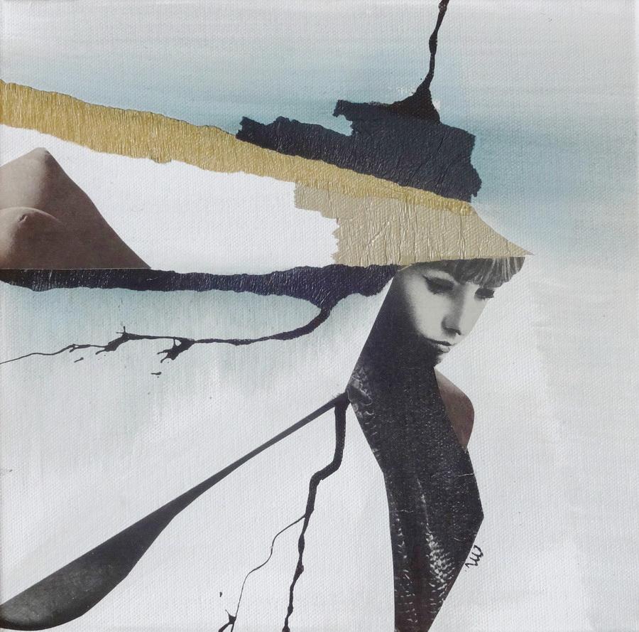 MARUŠA ŠTIBELJ - Searching for myself, 2017., kolaž, 25x25cm