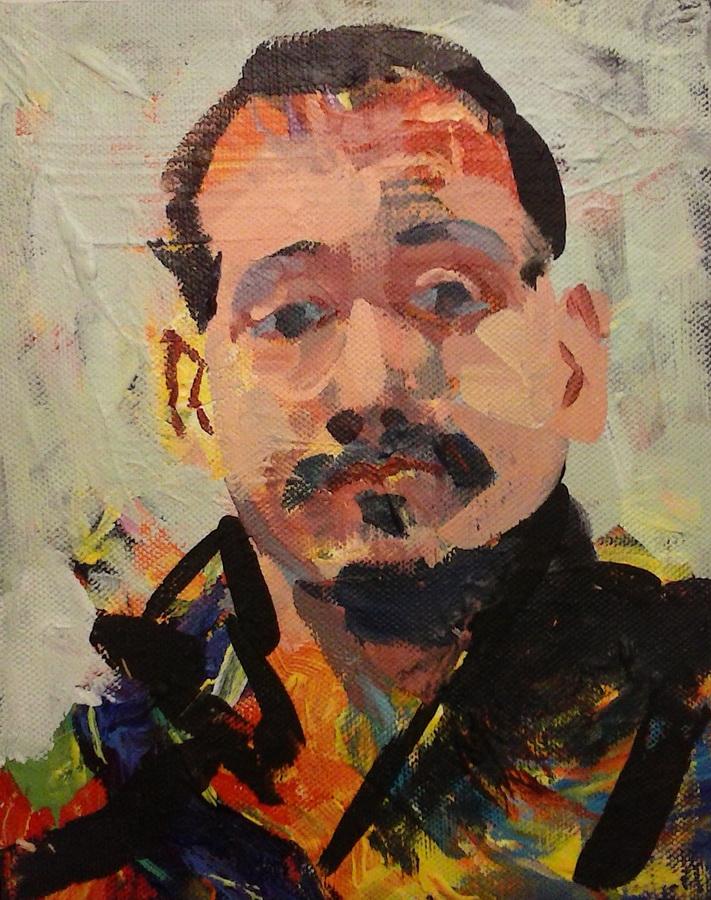 MIHOVIL DOROTIĆ - Autoportret, 2017., slika: akril/platno, 30x24cm