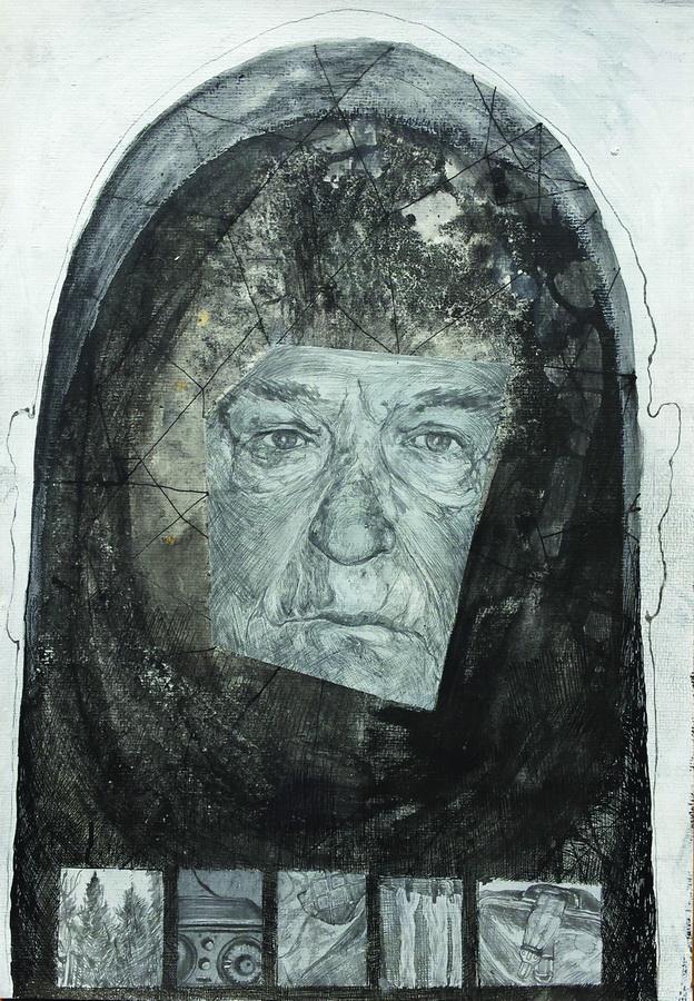 MIRAN ŠABIĆ - Autoportret – Sjećanje na djeda 2, 2015., kombinirana tehnika, 50x35cm