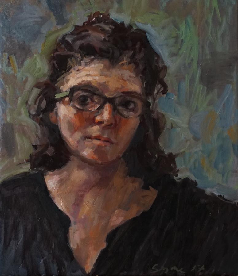 SUZANNE ARBANAS - Autoportret sa zelenim naočalama, 2017., slika: ulje/platno, 60x50cm
