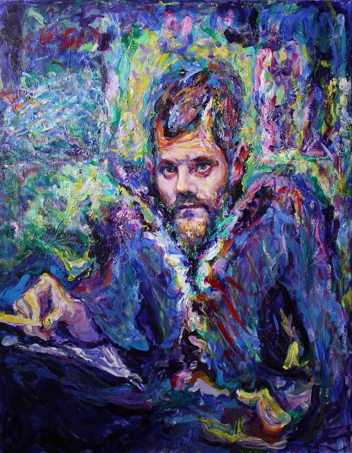 VJERAN ČENGIĆ - Autoportret 1, 2017., slika: akril/platno, 90x70cm