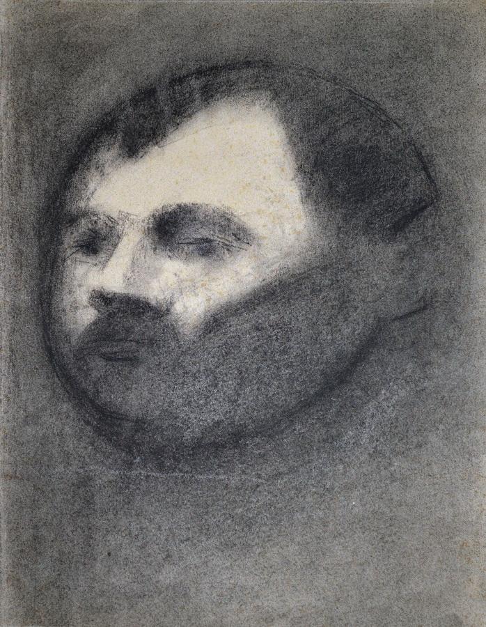 Autoportret, 1976.; ugljen, crtež
