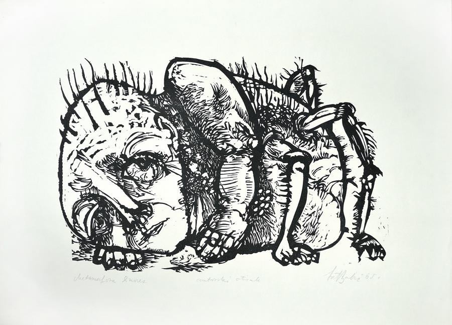 Metamorfoza, 1965.; linorez, iz mape 'Bestijarij'