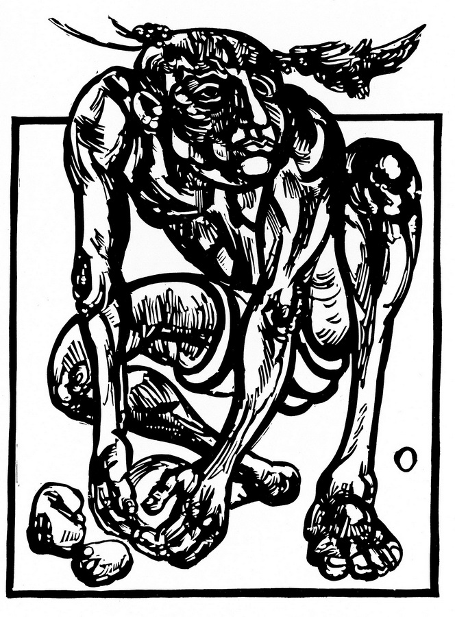 Otpor, 1983.; linorez, iz mape 'Izbjeglice' (foto: Dražen Bota)