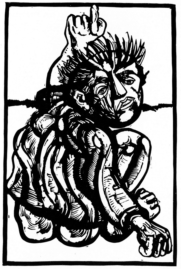 Upozorenje, 1983.; linorez, iz mape 'Izbjeglice' (foto: Dražen Bota)