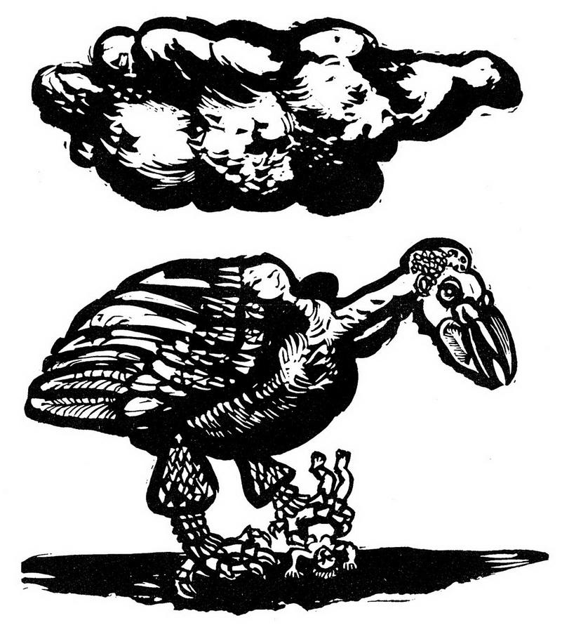 Velika ptica, 1963.; linorez, iz mape '9 linoreza' (foto: Dražen Bota)