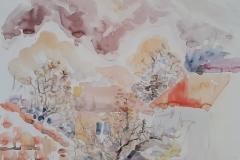 Cetinje - akvarel, 50x50cm, 2017.