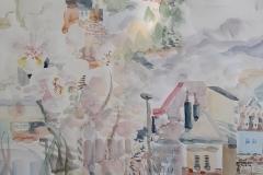 Detalj - dio rada Moja bajka zvana Cetinje - akvarel, 15mx3m, 2020.