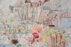 Detalj, dio rada Moja bajka zvana Cetinje - akvarel, 1x5mx3m, 2020.