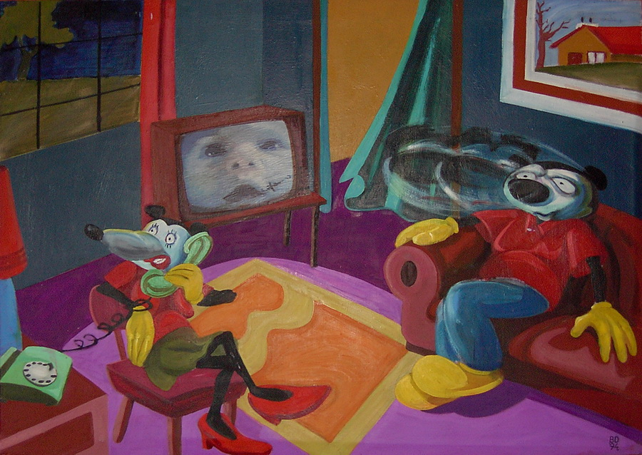At home, 1994, 70x100 cm, oil on canvas