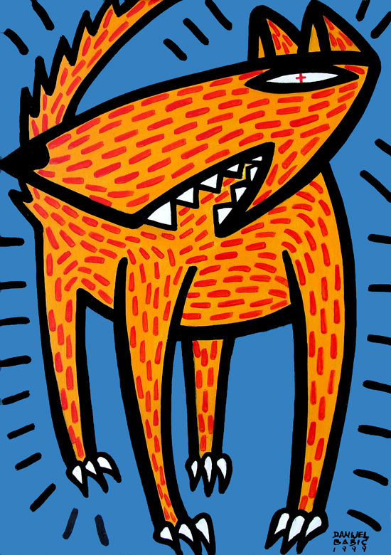 Dangerous dog, 1999, 70x50 cm, acrylic on cardboard