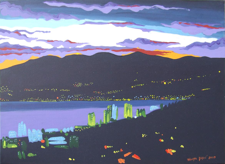 Pogled na Rijeku i Opatiju, 2009, 50x70 cm, acrylic on canvas
