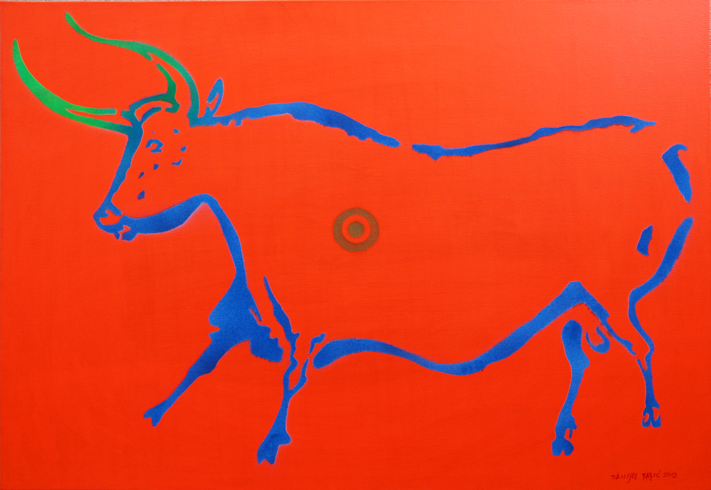 Cow from Lascaux (version II)-70x100 cm, acrylic and spray on canvas