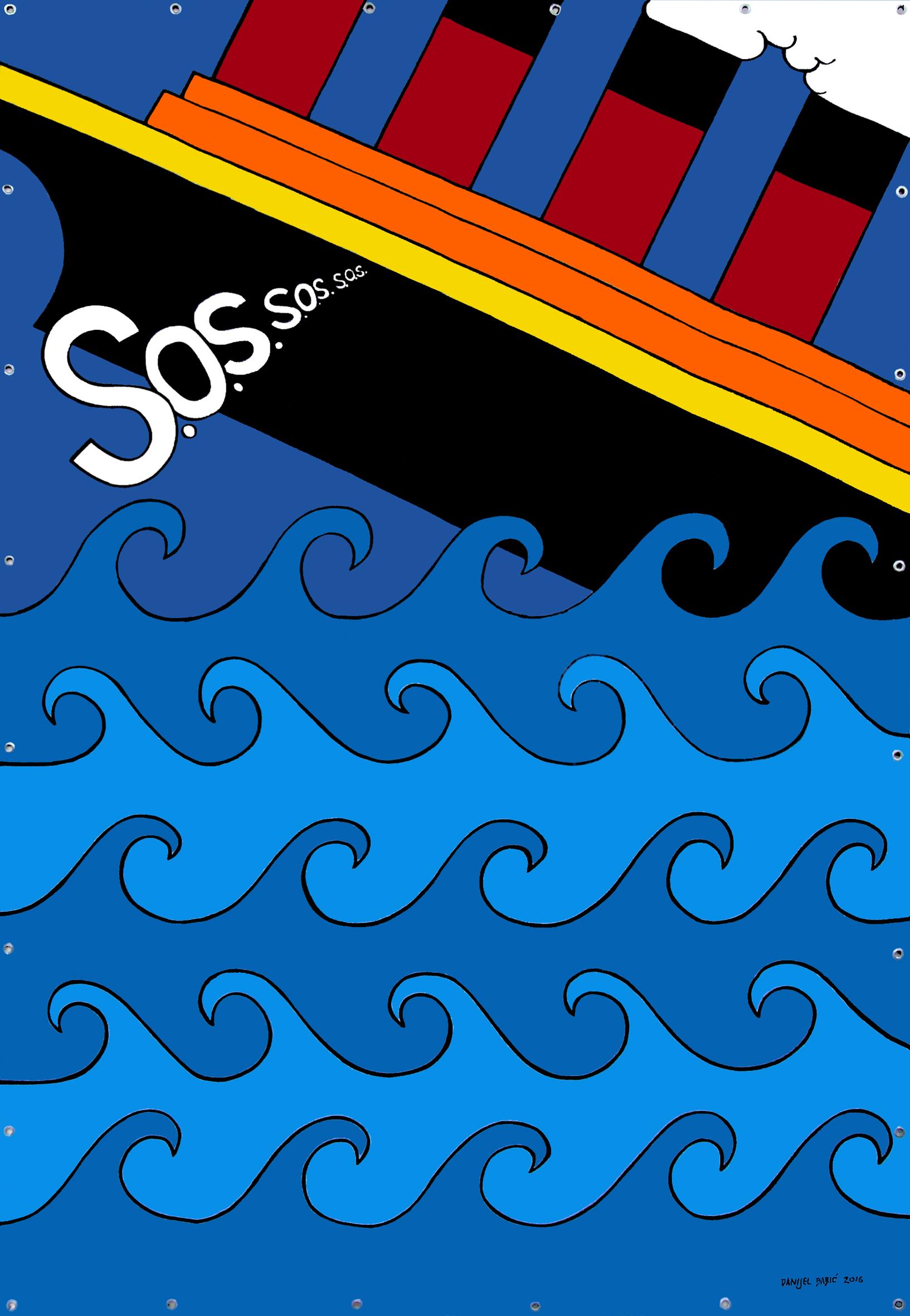 S.O.S., 2016, 220 x 150 cm, acrylic on mesh banner