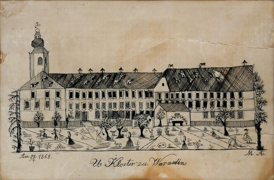 Anastazija Merse - Samostan uršulinki u Varaždinu, 1868., vez ljudskom kosom, 20x30.jpg