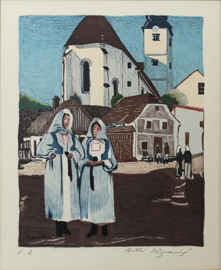Anka Krizmanić - Samoborska crkva i dvije seljanke, 1920., drvorez, 29x24.jpg
