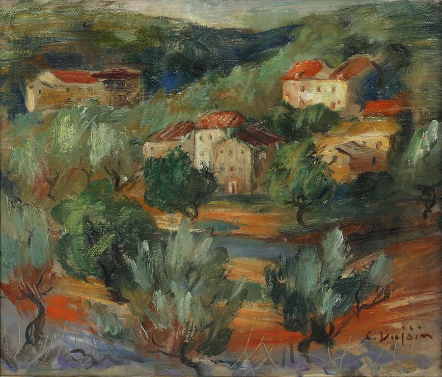Cata Dujšin Ribar - Masline, 2. pol. 20. st., ulje na platnu, 33x37.jpg