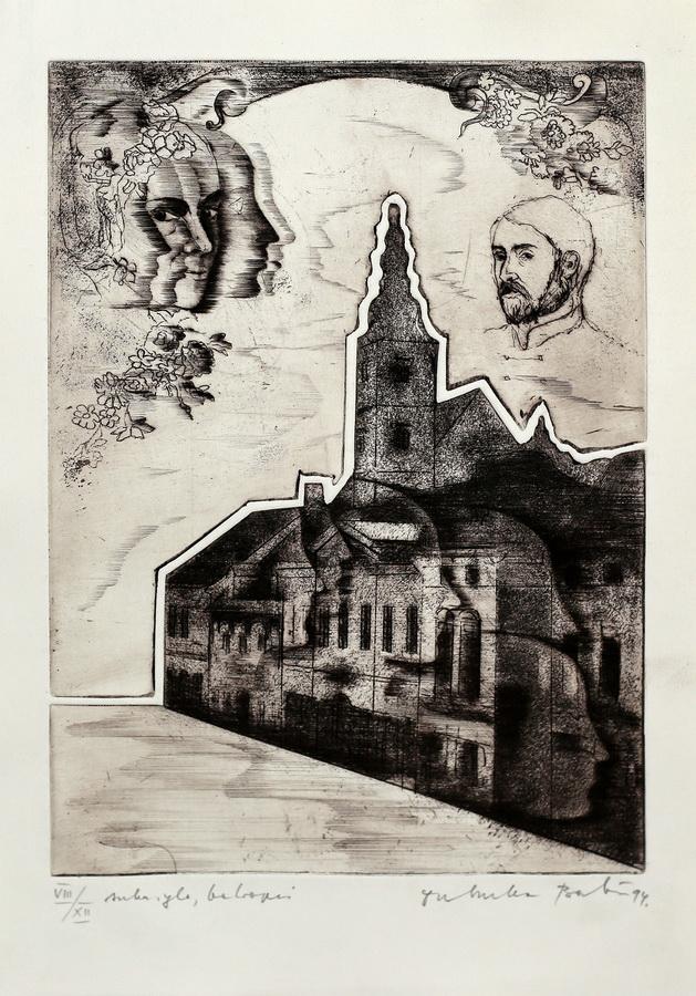 Dubravka Babić - Stanko Vraz i njegova Ljubica, 1994. (iz grafičke mape Samobor u srcu), bakropis, suha igla, 39x26,5.jpg