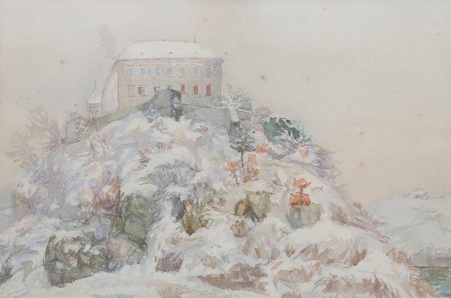 Slava Raškaj - Ozalj u snijegu, akvarel, oko 1899.,34x51.JPG
