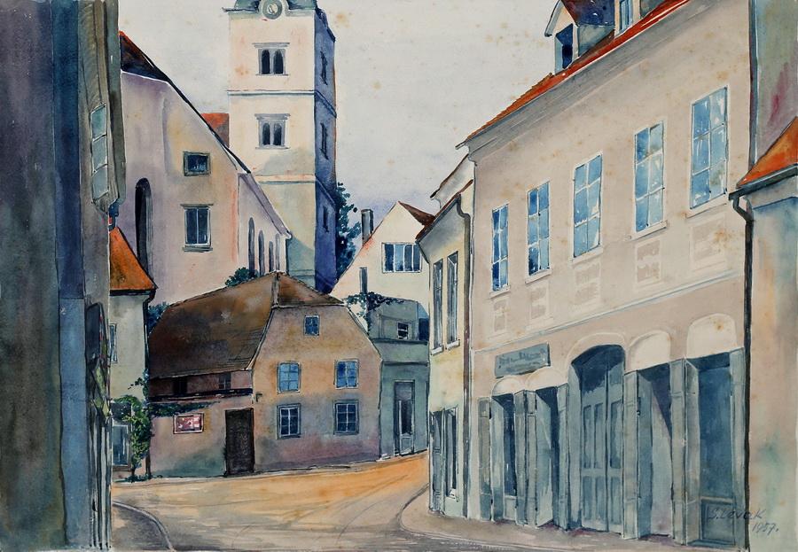 Smiljka Levak - Perkovčeva ulica, akvarel, 1957., 41x57cm.jpg