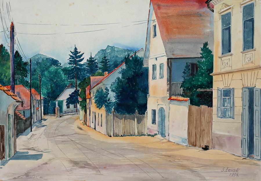 Smiljka Levak - Starogradska ulica, akvarel, 1957., 41x57cm.jpg