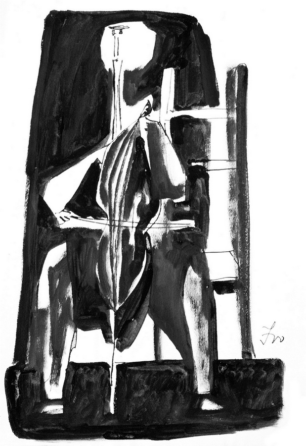 Čelista 8, 1950., tuš, močilo, papir, 42,4x29,4cm