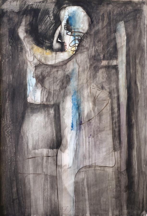 Čovjek s lubenicom (65), 1950., tempera močilo papir 100x70cm