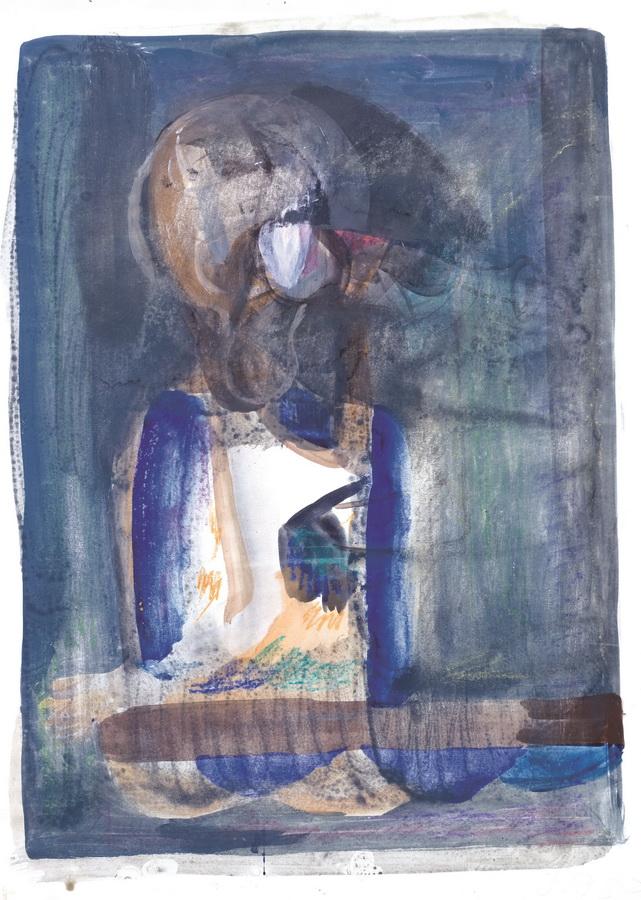 Čovjek sa čašom (27), 1950-55., tempera, močilo i papir, 67,5x50cm