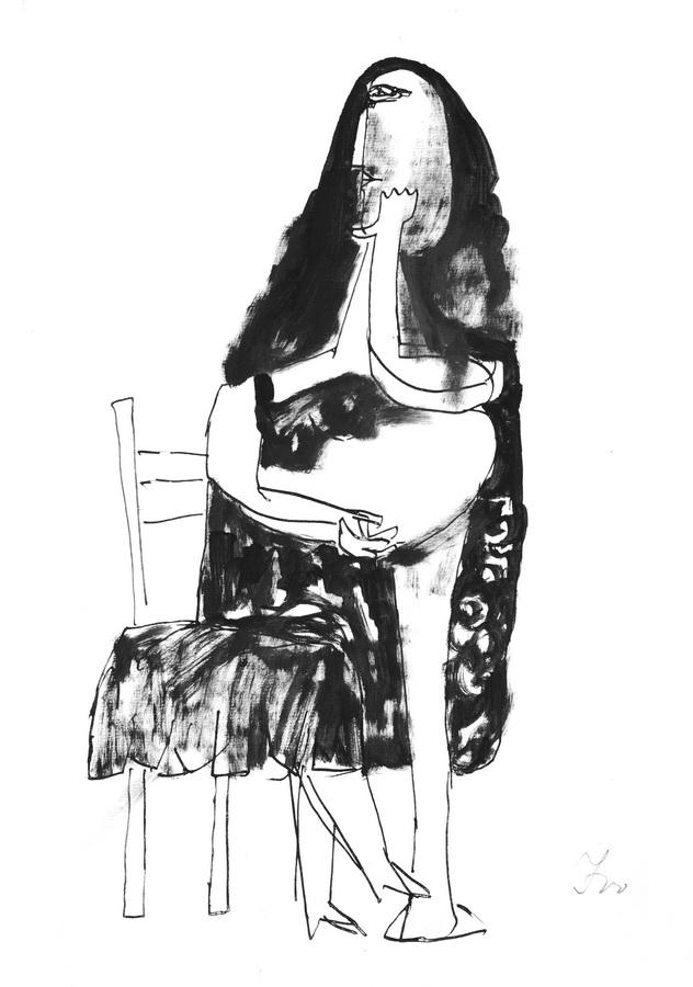Žena 6 (Z143), 1950., crna tempera, močilo, papir, 42x29,5cm