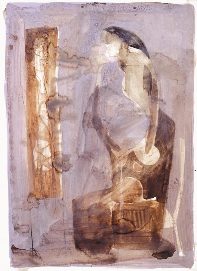 Žena pred ogledalom (28), 1950-55., močilo, tempera, papir, 68x49cm