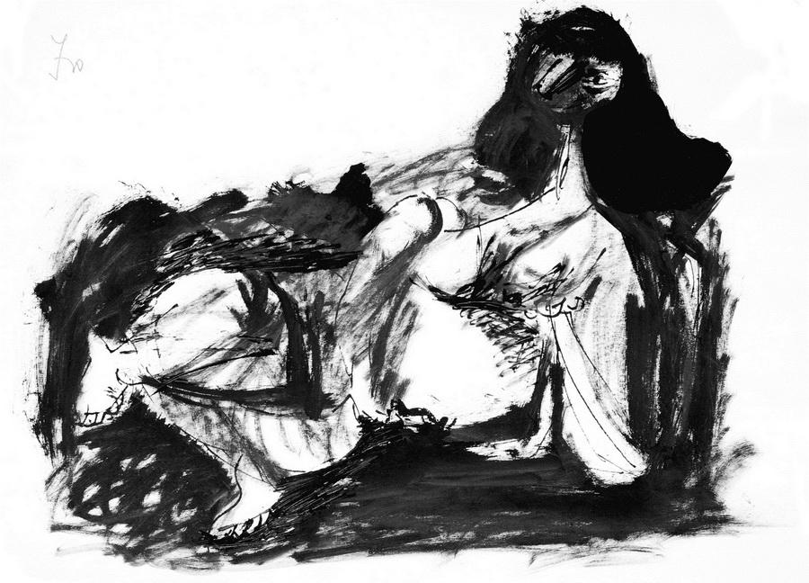 Akt 11 (Z162), 1950., močilo, crna tempera papir, 29,5x41,8cm