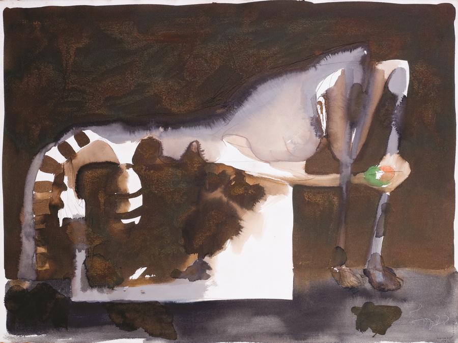 Akt 5, 1978., tempera papir, 56,5x76cm