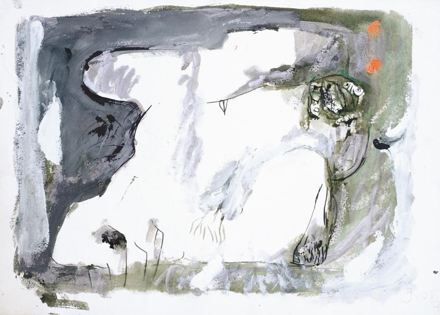 Akt (540), 1983., srebrno močilo, bijela tempera, papir, 44,5x62cm