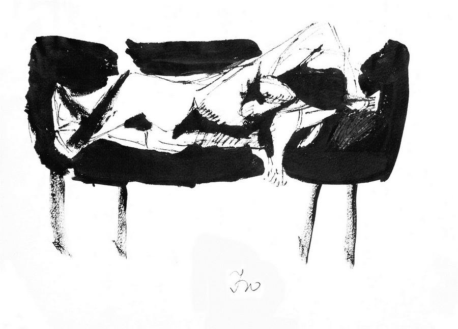 Akt 7 (Z158), 1950, crna tempera, tuš papir, 29,3x41,8cm