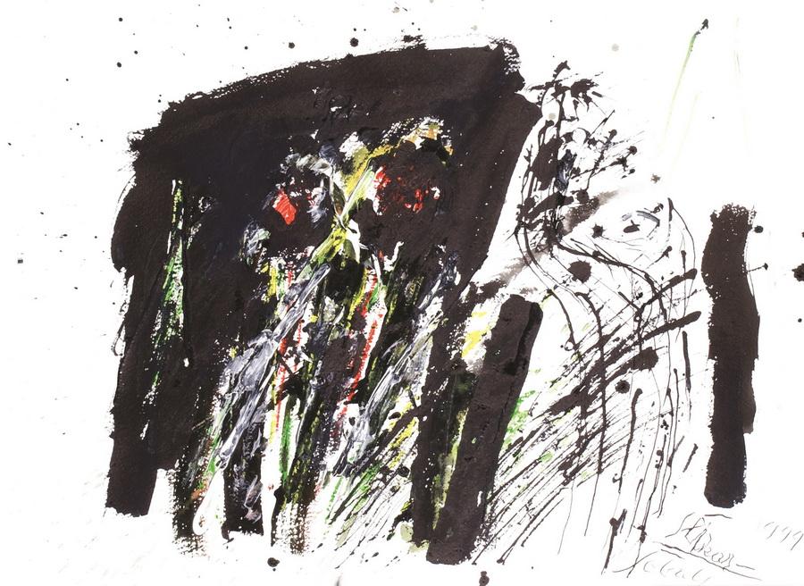 Autoportret - slikar, 1999., tempera ulje papir, 56x75cm
