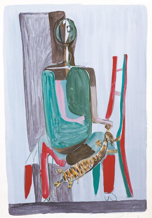Dječak s mačkom (16), 1950-1955, tempera, močilo, papir, 86x61cm