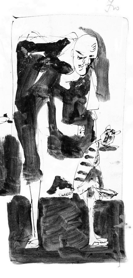 Dječak s mačkom 4 (Z99), 1950, tuš, močilo, papir, 383x188cm