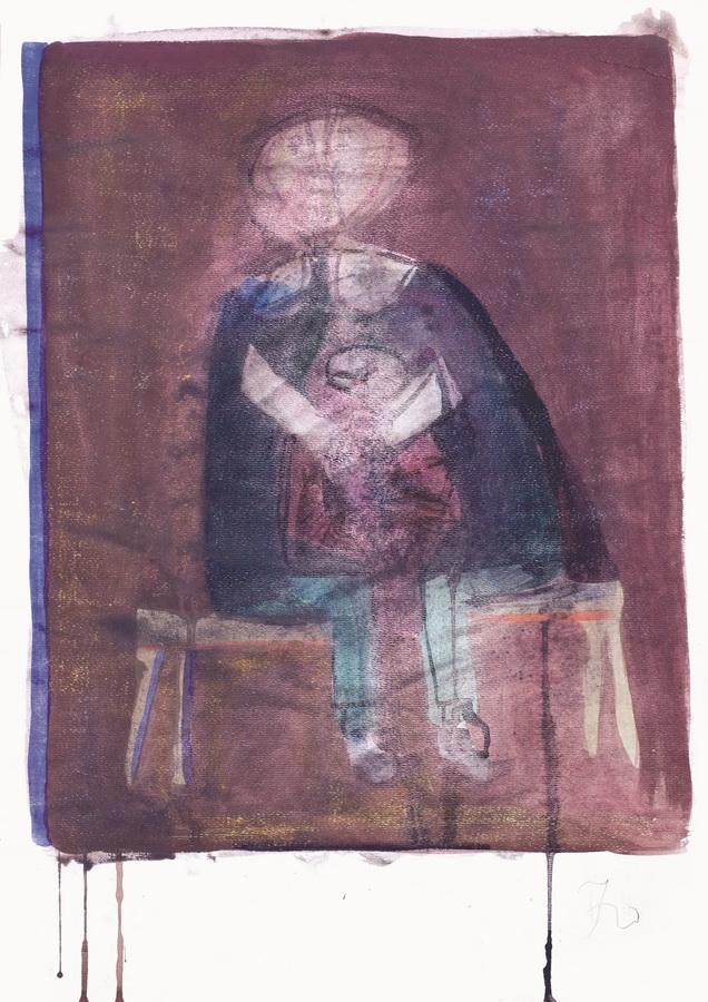 Djevojčica (27), 1950-55, tempera, papir, 59x42cm