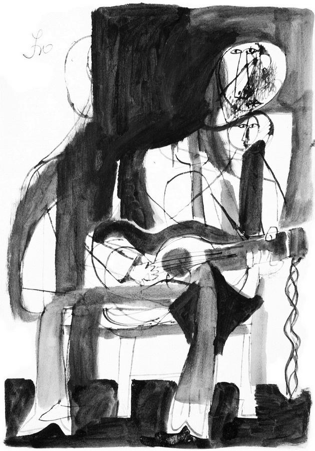 Gitarista 8 (Z92), 1950., tuš, pero, močilo, papir, 425x300cm