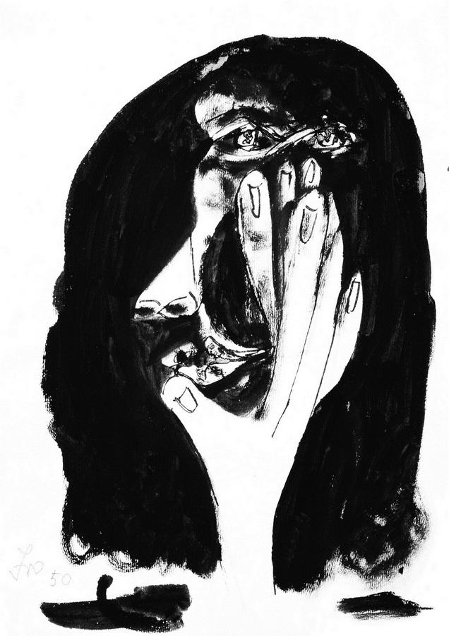 Glava žene 6 (Z105), 1950., tuč, močilo papir, 42x29,5cm